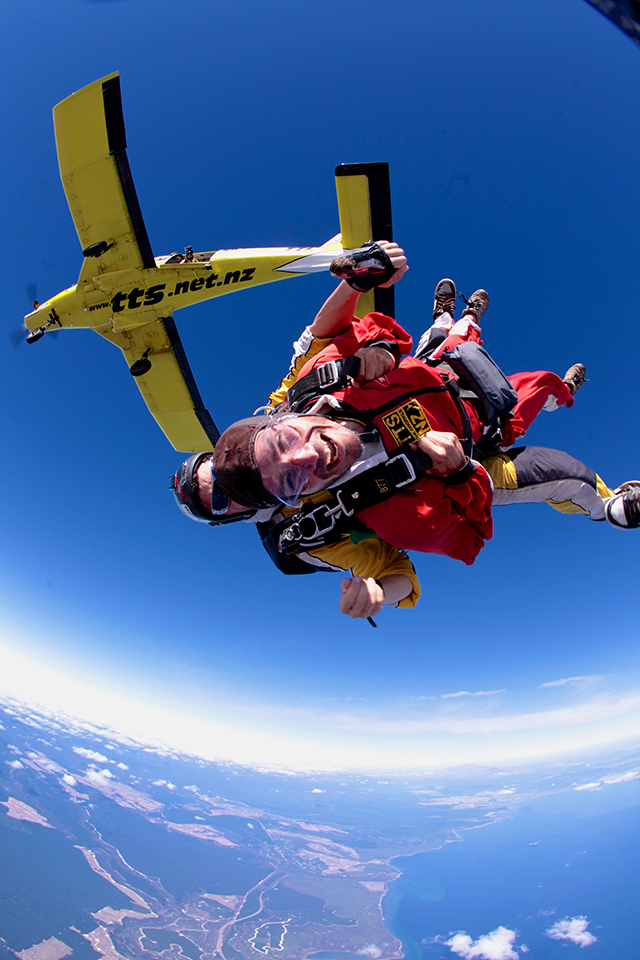 student trips skydive jumping